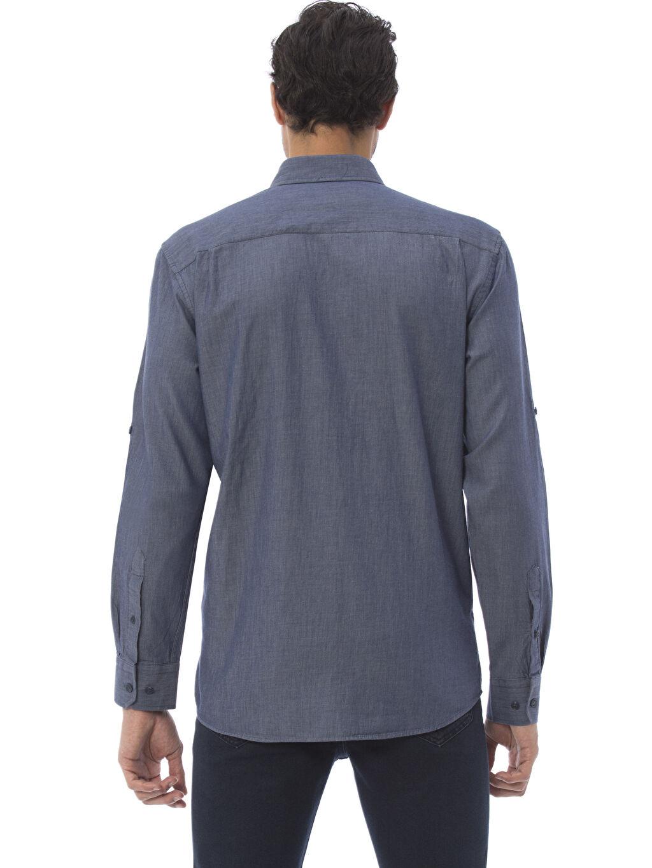 %100 Pamuk Normal Uzun Kol Düz Gömlek Düğmeli Düz Normal Uzun Kollu Gömlek