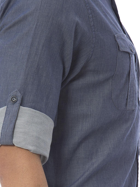 %100 Pamuk Düz Normal Uzun Kollu Gömlek