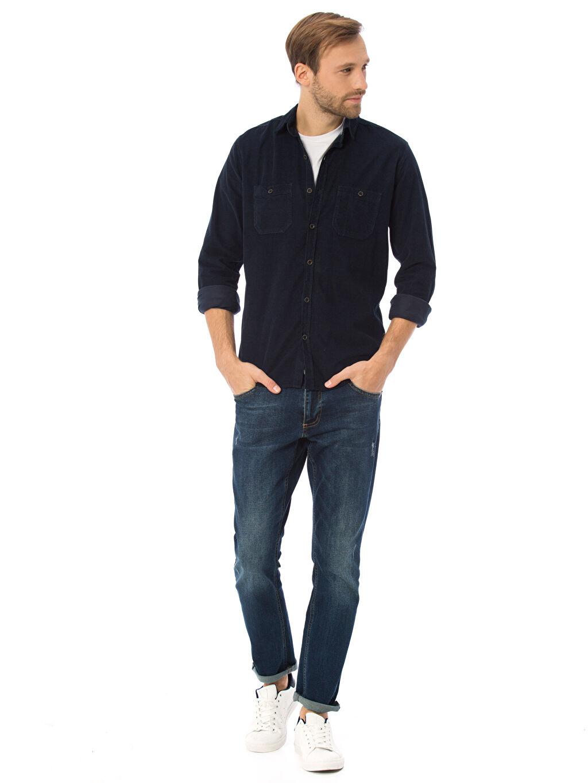Erkek Uzun Kollu Dar Gömlek