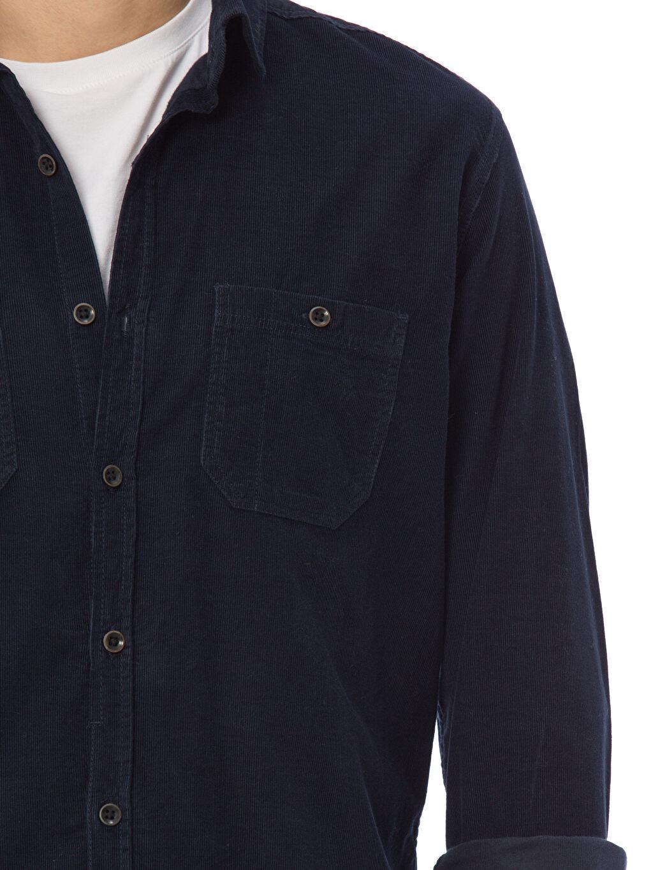 %100 Pamuk Uzun Kollu Dar Gömlek