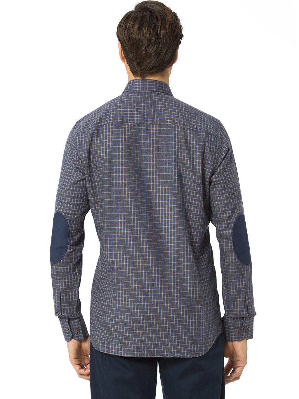 %60 Pamuk %40 Polyester Uzun Kol Ekoseli Dar Gömlek Düğmeli Ekose Uzun Kollu Gabardin Gömlek