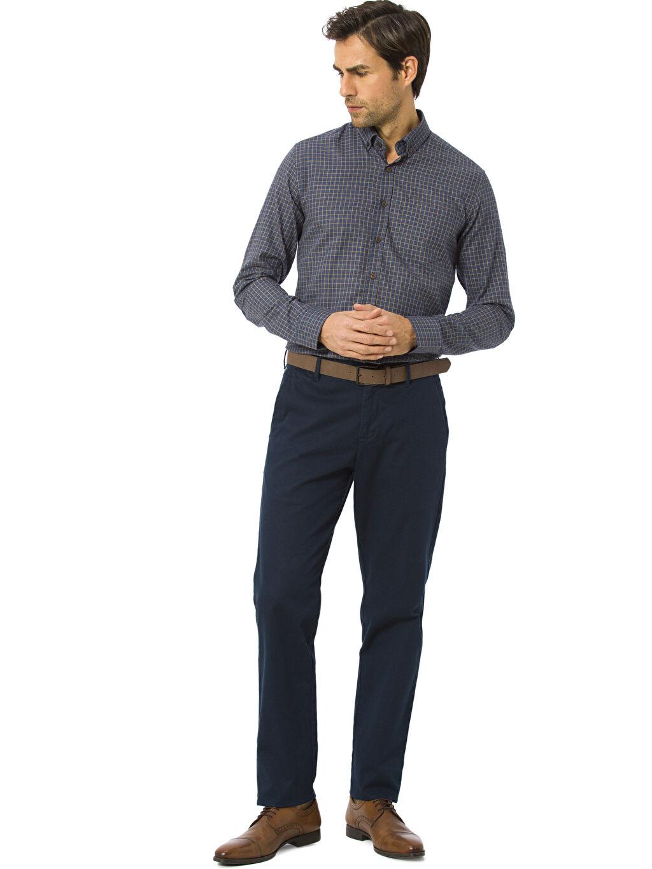 Erkek Ekose Uzun Kollu Gabardin Gömlek