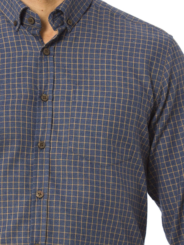 %60 Pamuk %40 Polyester Ekose Uzun Kollu Gabardin Gömlek