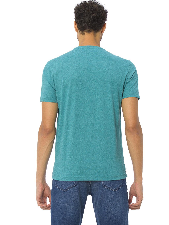 %49 Pamuk %51 Polyester Standart Kısa Kol Tişört Baskılı Bisiklet Yaka Baskılı Tişört