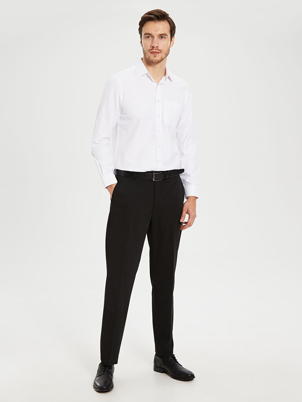 %71 Polyester %7 Elastan %22 Viskoz Normal Bel Normal Pileli Pantolon Standart Kalıp Takım Elbise Pantolonu