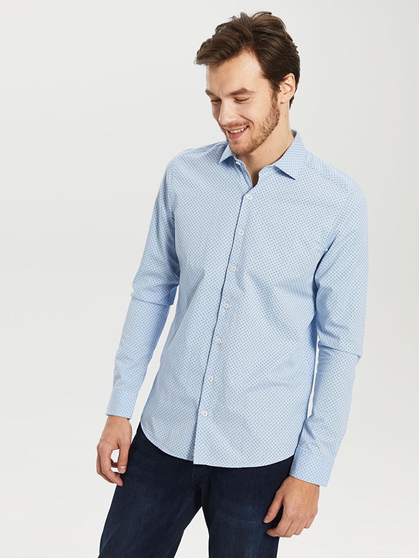 %100 Pamuk Dar Desenli Uzun Kol Gömlek Düğmesiz Desenli Dar Uzun Kollu Gömlek