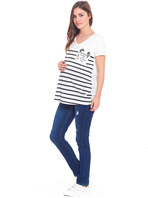Kadın Kesik Detaylı Skinny Hamile Jean Pantolon