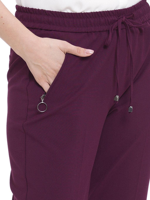 %64 Polyester %4 Elastan %32 Viskon Yüksek Bel Pantolon