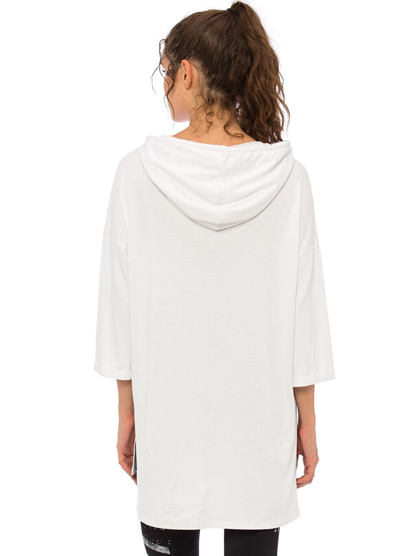 Kadın Yazı Baskılı Dökümlü Sweatshirt