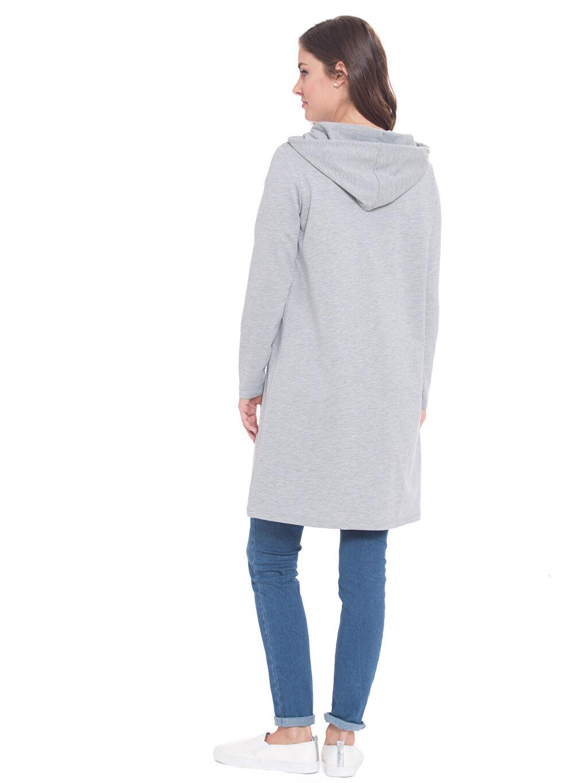 %30 Pamuk %70 Polyester  Kapüşonlu Uzun Sweatshirt