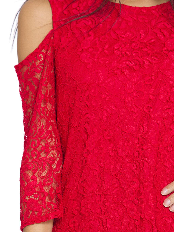 %100 Poliamid Omuzları Açık Dantel Mini Elbise