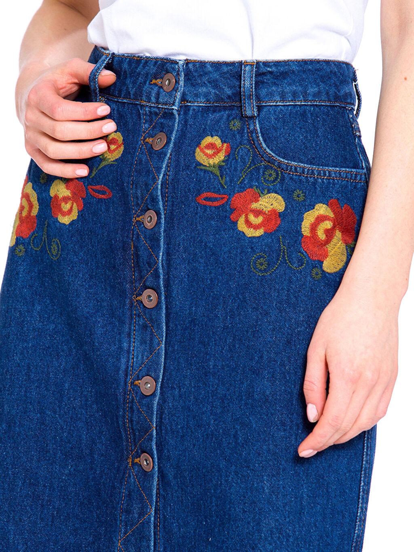 %100 Pamuk Çiçek Nakışlı Düğmeli Jean Etek