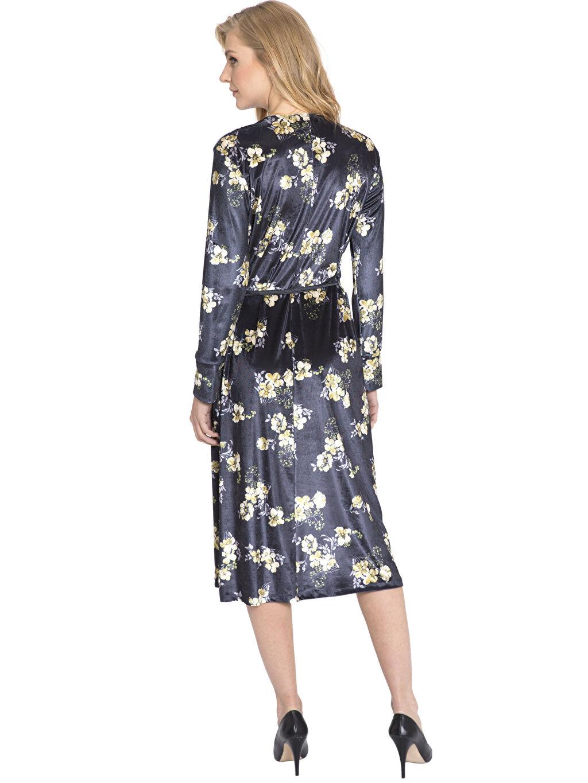 %90 Polyester %10 Elastan Diz Altı Desenli Uzun Kol Çiçek Desenli Kadife Kruvaze Elbise
