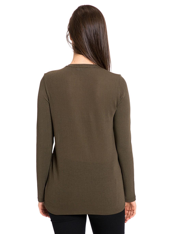 %60 Poliester %36 Vıscose %4 Elastane Bluz Aplike Baskılı Bluz