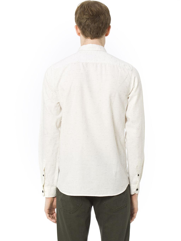 %94 Pamuk %6 Polyester Düz Uzun Kol Dar Ekstra Dar Kalıp Uzun Kollu Gömlek