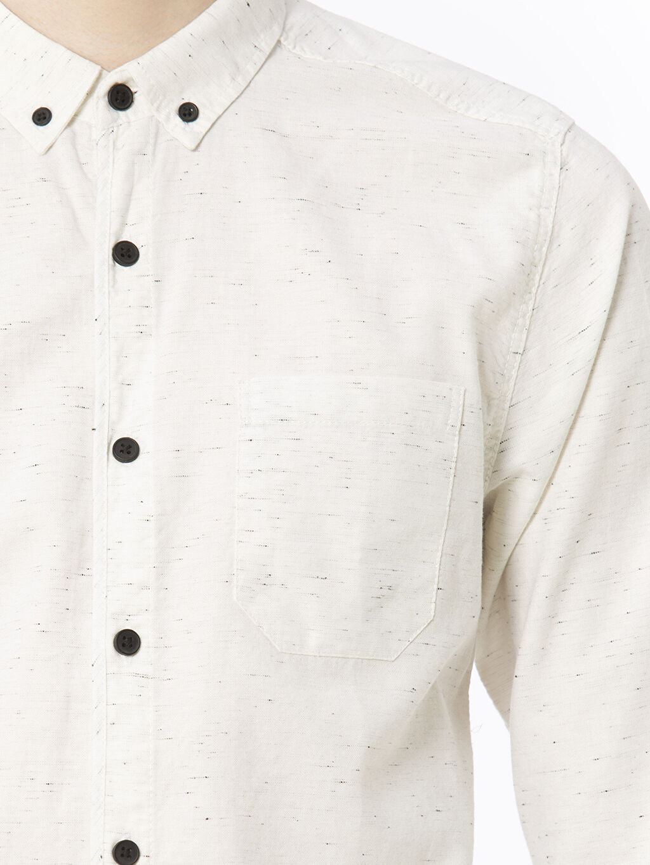 %94 Pamuk %6 Polyester Ekstra Dar Kalıp Uzun Kollu Gömlek