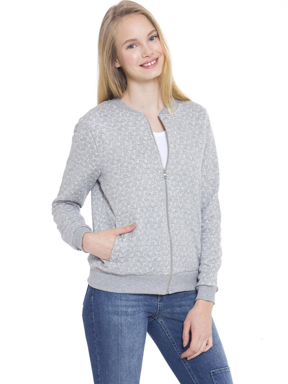 Gri Fermuarlı Sweatshirt 7K9743Z8 LC Waikiki