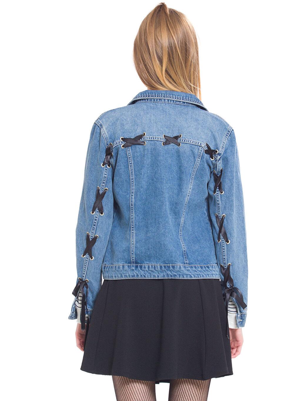 %100 Pamuk  Sırtı Bağlama Detaylı Jean Ceket