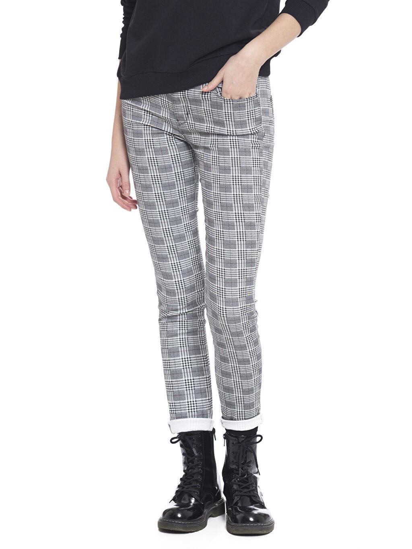 %70 Pamuk %26 Polyester %4 Elastan Normal Bel Dar Ekose Pantolon