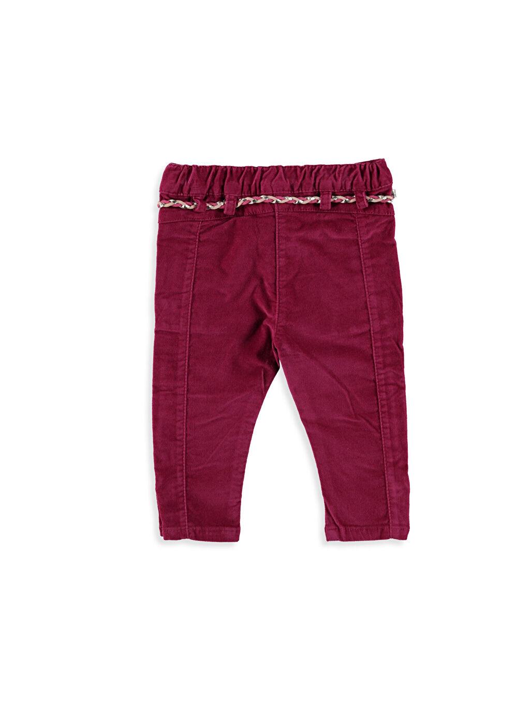 %98 Pamuk %2 Elastan Normal Bel Dar Kız Bebek Kadife Pantolon