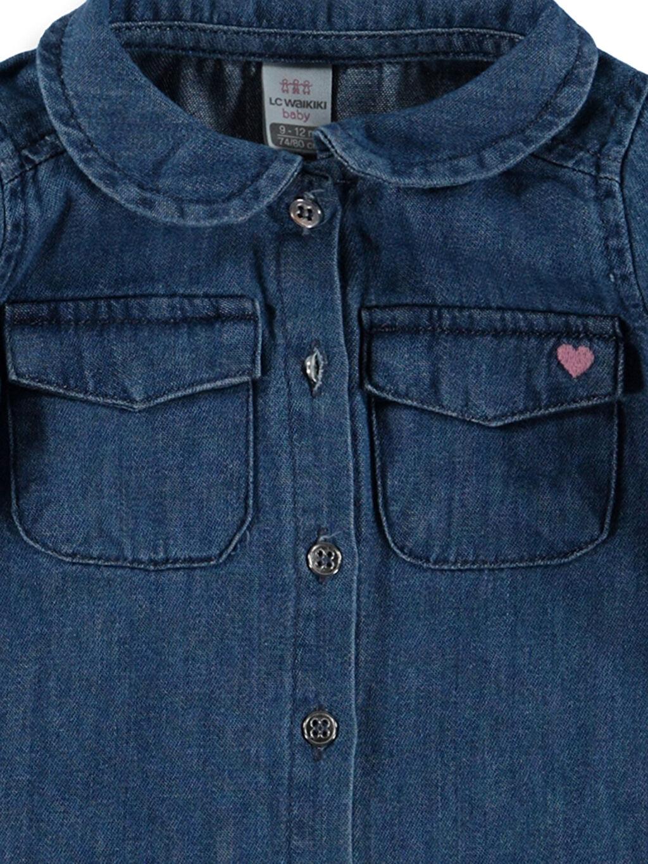 %100 Pamuk Kız Bebek Jean Gömlek