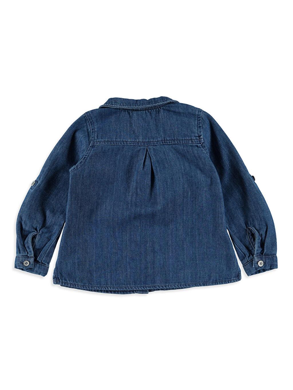 %100 Pamuk Düz Standart Uzun Kol Gömlek Kız Bebek Jean Gömlek