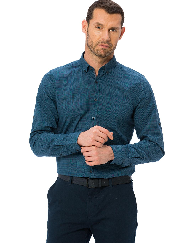 Yeşil Slim Fit Ekose Uzun Kollu Poplin Gömlek 8S0164Z8 LC Waikiki