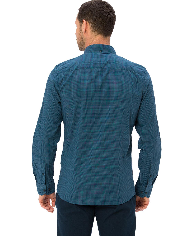 %100 Pamuk Dar Uzun Kol Ekoseli Gömlek Düğmeli Slim Fit Ekose Uzun Kollu Poplin Gömlek