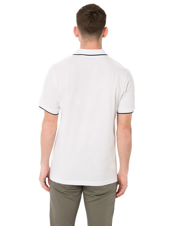 %100 Pamuk Standart Kısa Kol Tişört Çizgili Polo Çizgili Polo Yaka Kısa Kollu Pike Tişört