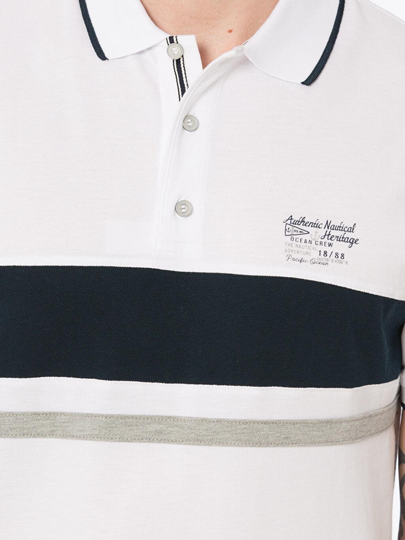 %100 Pamuk Çizgili Polo Yaka Kısa Kollu Pike Tişört