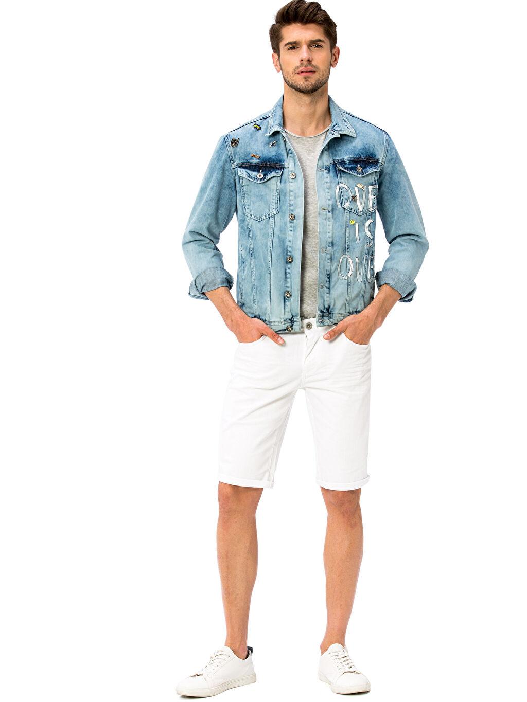 Erkek Baskılı Jean Ceket