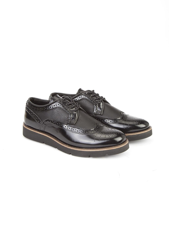 Siyah Deri Görünümlü Oxford Ayakkabı 8S4900Z8 LC Waikiki
