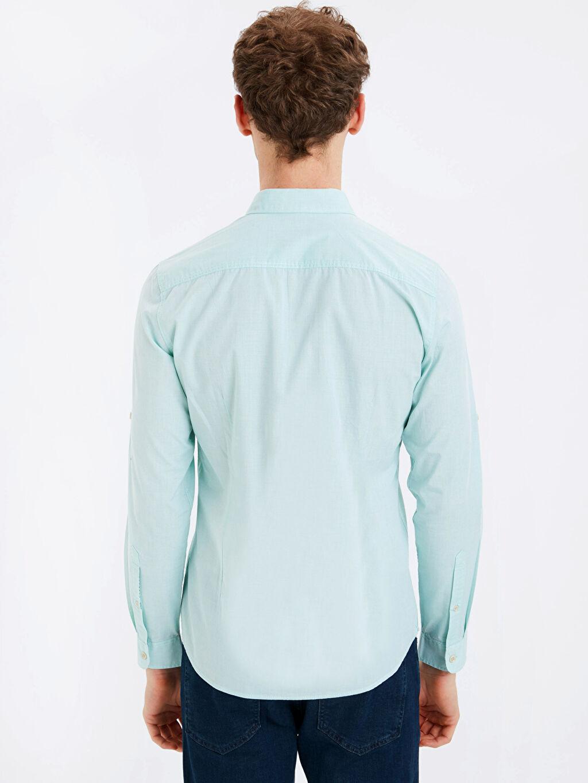 %100 Pamuk Uzun Kol Düz En Dar Gömlek Düğmesiz Extra Slim Fit Uzun Kollu Filafil Gömlek