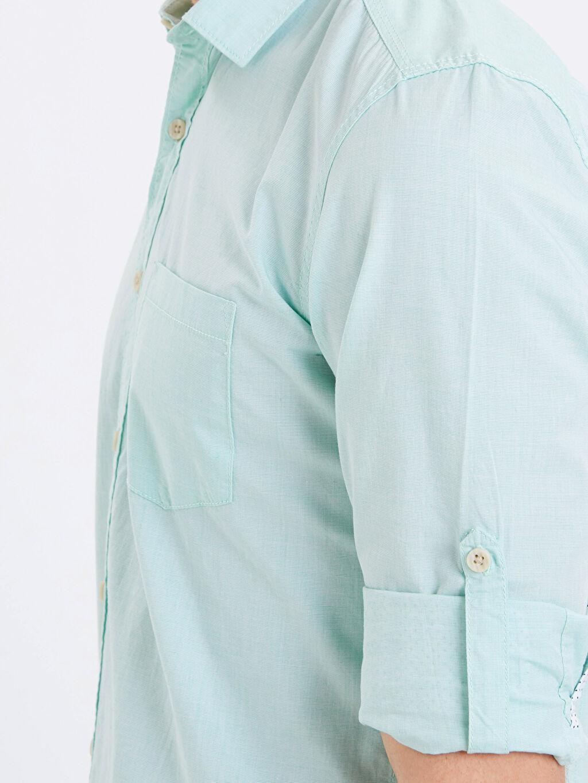 %100 Pamuk Extra Slim Fit Uzun Kollu Filafil Gömlek