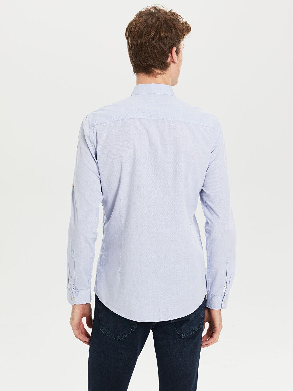 Erkek Extra Slim Fit Uzun Kollu Filafil Gömlek