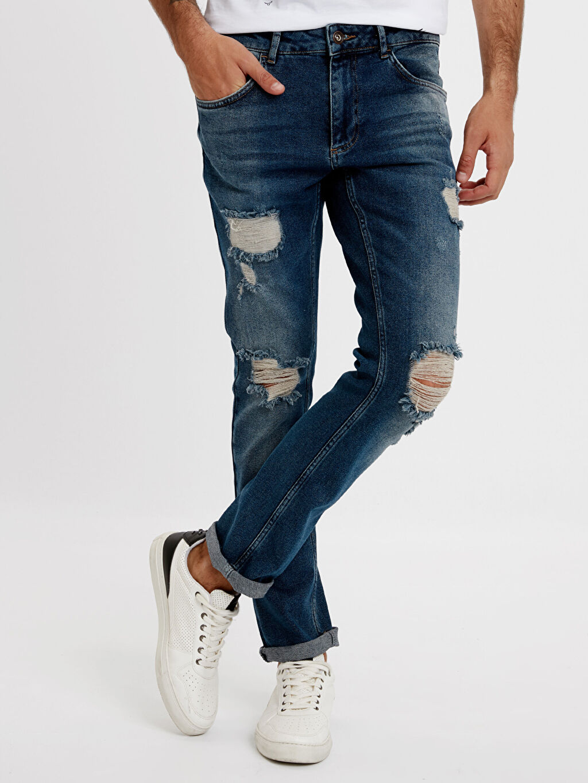 %99 Pamuk %1 Elastan Dar Jean Normal Bel Sarıyer 750 Slim Fit Yırtık Detaylı Jean Pantolon