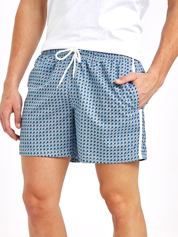 %100 Polyester Diz kısa Boy Desenli Deniz Şortu