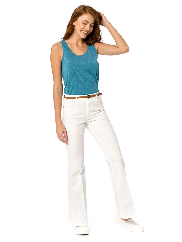 Beyaz İspanyol Paça Pantolon 8S2477Z8 LC Waikiki