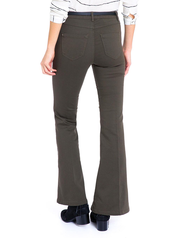 %62 Pamuk %33 Polyester %5 Elastan Normal Bel Standart İspanyol Paça Pantolon Kemerli İspanyol Paça Pantolon