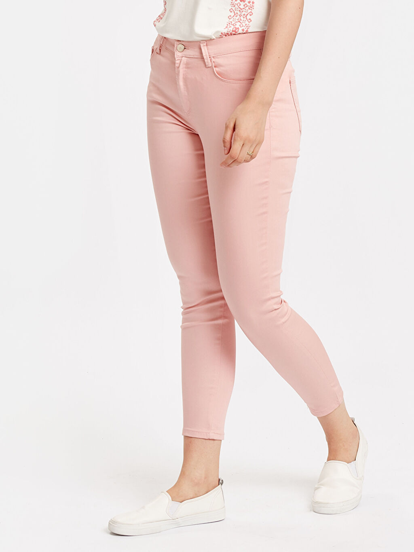 %65 Pamuk %30 Polyester %5 Elastan Kısa Paça Pantolon Normal Bel Esnek Standart Bilek Boy Pantolon