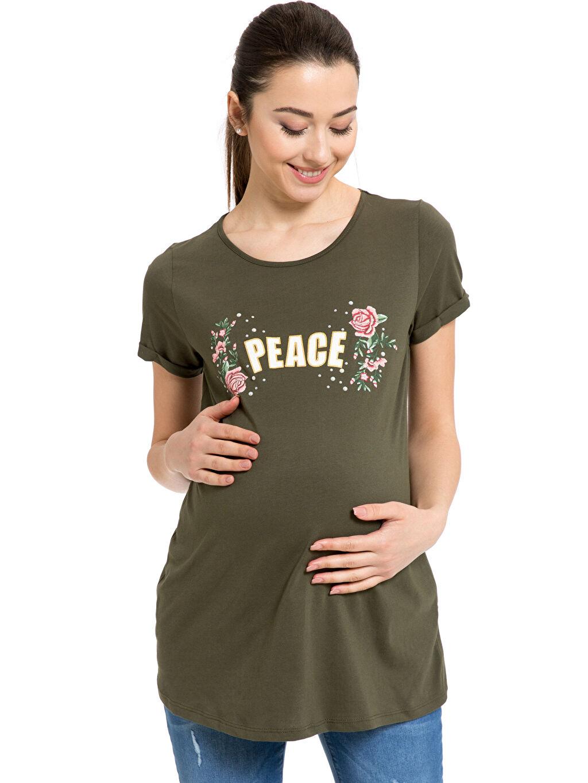 Yeşil Baskılı Hamile Tişört 8SI050Z8 LC Waikiki