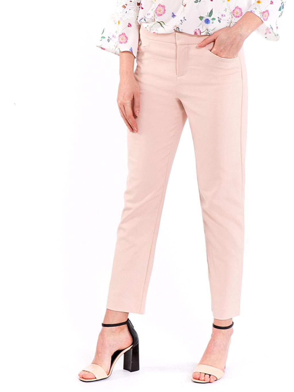 %53 Pamuk %44 Polyester %3 Elastan Normal Bel Esnek Standart Kumaş Pantolon Bilek Boy Kumaş Pantolon