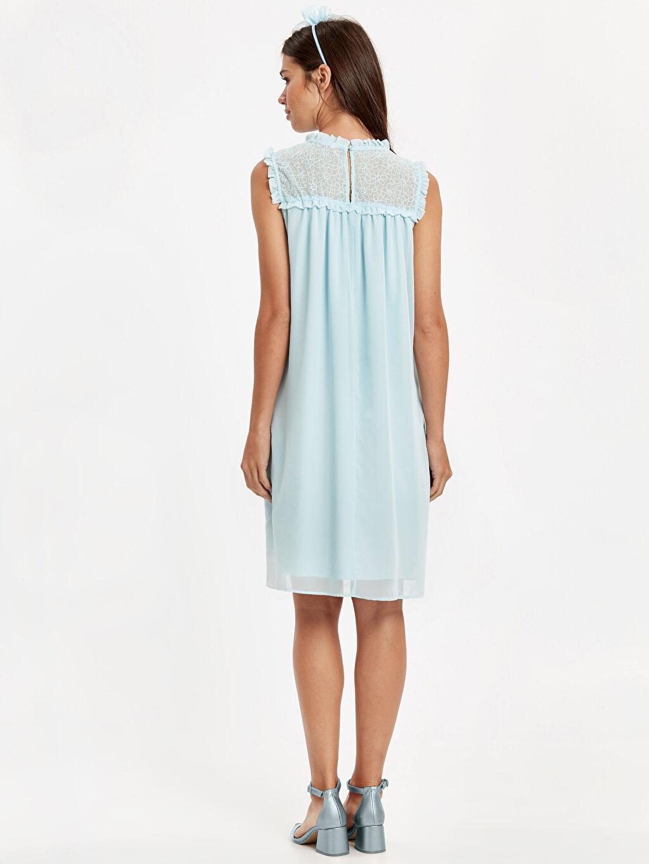 %100 Polyester %100 Polyester %100 Polyester Elbise Yakası Dantel Detaylı Şifon Hamile Elbisesi ve Fiyonklu Taç