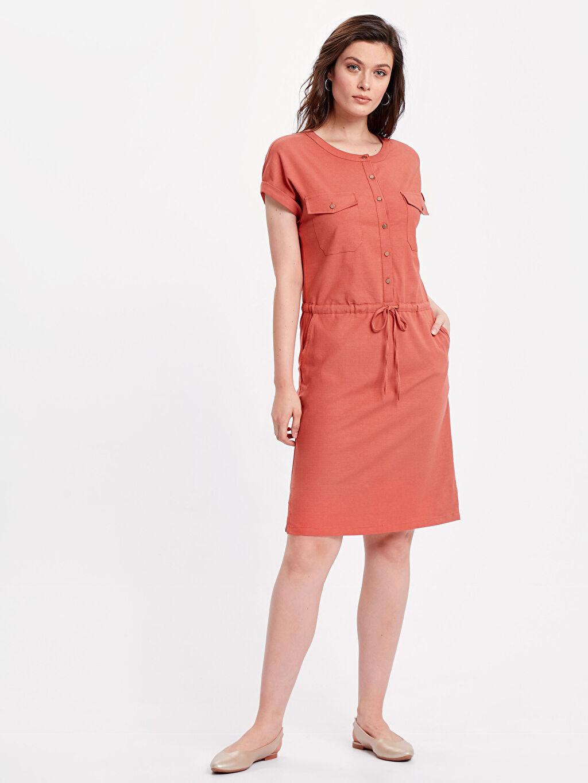 Kahverengi Beli Bağlama Detaylı Elbise 8SD874Z8 LC Waikiki
