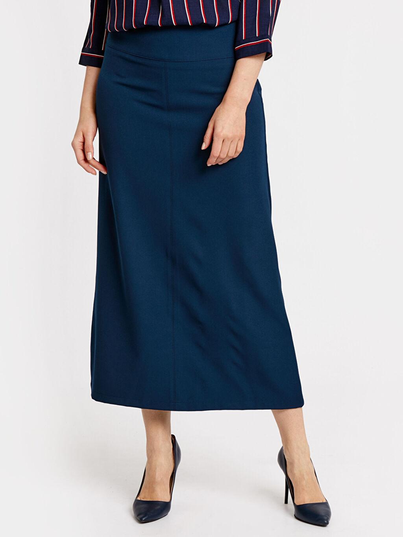 %86 Polyester %14 Elastan Uzun Düz Uzun Maroken Etek
