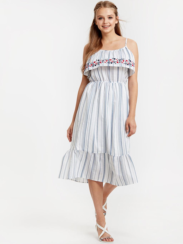 Lacivert İşleme Detaylı Çizgili Poplin Elbise 8SL439Z8 LC Waikiki