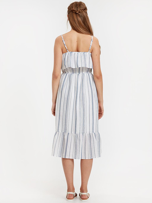 %100 Pamuk %100 Polyester Diz Altı Çizgili Kolsuz İşleme Detaylı Çizgili Poplin Elbise