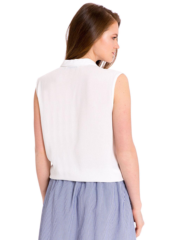 %100 Viskoz Desenli Kolsuz Gömlek Standart Önden Bağlamalı Viskon Gömlek