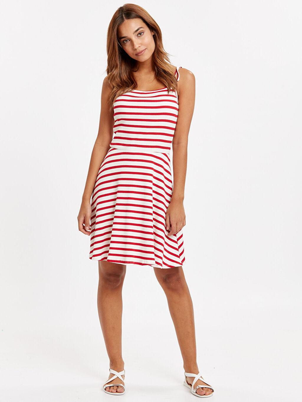 Kırmızı İnce Askılı Çizgili Kaşkorse Elbise 8SM531Z8 LC Waikiki