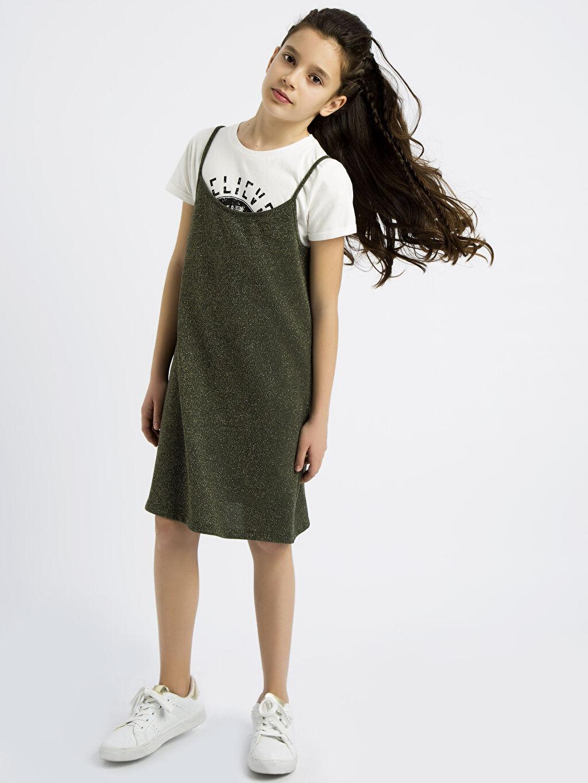 Haki Kız Çocuk Elbise ve Tişört 8S0764Z4 LC Waikiki